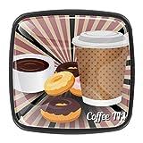 YATELI La Hora del café, café, Bebida, donas Perillas de extracción de para gabinetes, armarios, Puertas y cajones de Muebles: se Venden como un Paquete de 4 perillas