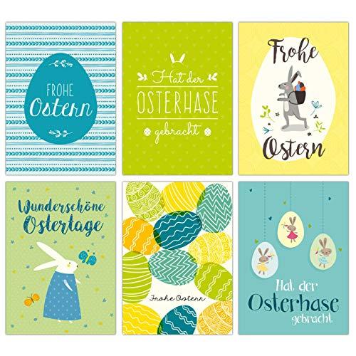 Papierdrachen Osterkarten Set Blau Grün - 12 liebevoll gestaltete Postkarten zu Ostern - Grußkarten Set 11 - Ostern 2020
