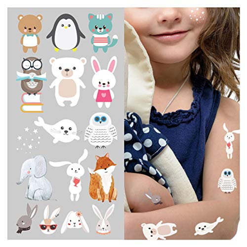 Supperb White Temporary Tattoos - Forest Animals Kids Party Supplies Happy Easter Birthday Decorations Anime Cute Tattoos Halloween Costume Egg Temporary Tattoo for Children