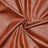 Tissu suédine effet simili cuir, épaisseur moyenne - Magnifique qualité - Tissu faux cuir - Tissu faux daim avec enduction - tissu simili cuir effet daim (Coupon de 1m x 1m40) (TABAC)