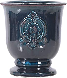 Little Green House Ceramic Dark Blue Round Vase - Large