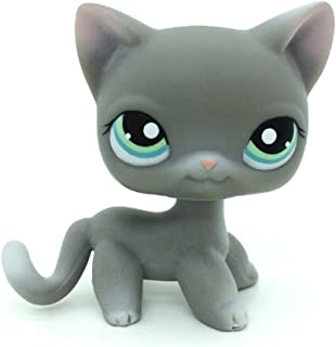 ZAD Littlest Pet Shop LPS Gray Short Hair Cat Kitty Green Eye Pink Ears #126