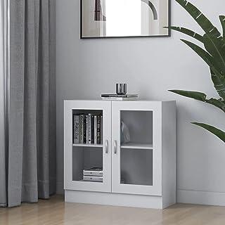 vidaXL Armoire à Vitrine Bibliothèque Armoire à Livres Meuble de Rangement Salon Bureau Maison Intérieur Blanc 82,5x30,5x8...