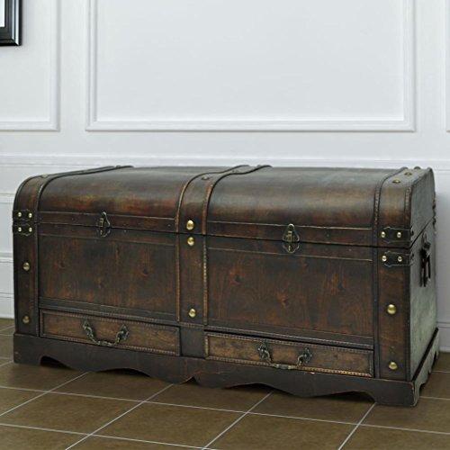 SENLUOWX Grande boîte à trésors en bois style antique Table basse
