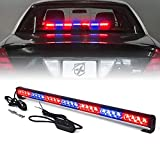 Xprite 31.5' Inch 28 LED Strobe Emergency Traffic Advisor Warning Light Bar w/ 13 Flashing Patterns for Firefighter Vehicles Trucks Cars - Red & Blue