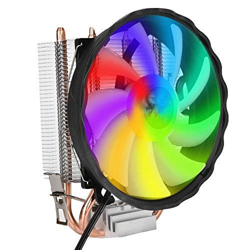 RGB LED Prozessorlüfter mit 120 mm PWM, 2 Heatpipes, CPU Kühler für Intel LGA 775/1155 / 1156/1366 und AMD AM2 / AM2+/AM3 Sockel, PC Gehäuse Lüfter Leise und Effizient