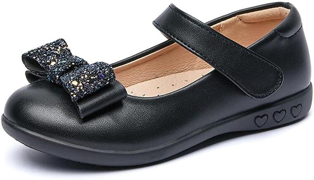 JGKDTX Girl's Glitter Mary Jane Ballet Ballerina Flats Black Strap School Uniform Dress Shoes(Toddler/Little Kid)