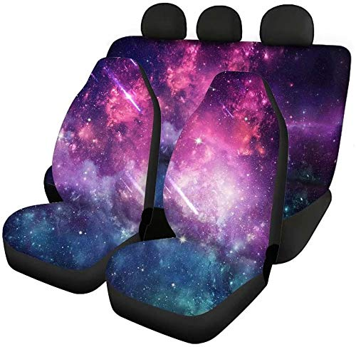 chaqlin 4 Pack Galaxy Space Car Seat Covers Back Seat Protector Split Bench Cover Full Set Women Ladies Auto Accessories Decor,All Weather Soft Pet Dog Seat Mats,Universal fit