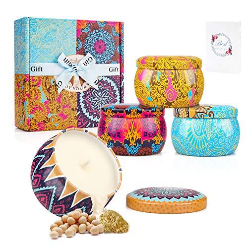 YUE GANG Duftkerzen Geschenk-Set Tragbare Natürliche Soja Wachs für Damen Geschenke für Stress-Relief und Aromatherapie Weihnachten, Muttertag, Valentinstag 4 Pack