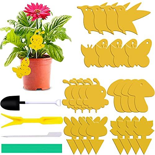 Tomicy Atrapa Moscas Adhesivo Trampa Moscas, Atrapa Moscas Trampa, Trampa de Moscas enchufables Placas Amarillas, para Insectos Voladores de Interior y Exterior, Jardín, Plantas 24 Piezas