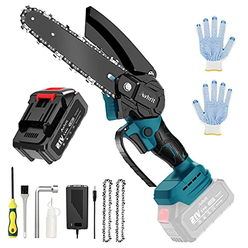 6 Inch Mini chainsaw-Battery Operated Chainsaw Cordless w/ 21V 3.0Ah Battery & Fast Charger,Electric Pruning Chain Saw with Replacement Chain,One-Handed Electric Chainsaw-Tool-Free Installation