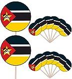 Mosambik-Flagge Party Essen Kuchen Cupcakes Picks Sticks Flags Stand Up Dekorationen Topper (14 Stück)