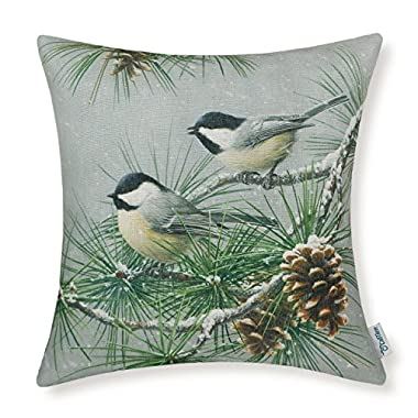 CaliTime Canvas Throw Pillow Cover Shell for Couch Sofa Home Decor 18 X 18 Inches, Wild Chickadees with Pinecones Tree in Winter