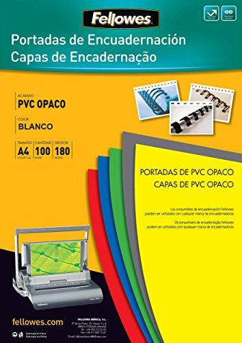 Fellowes 5100501 - Portadas para encuadernar de PVC opaco, A4, blanco