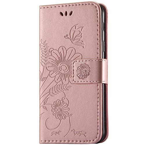 kazineer Samsung Galaxy A3 2017 Hülle, Galaxy A3 (2017) Handyhülle Leder Tasche Schutzhülle Blume Muster Etui für Samsung A3 2017 Case (Pink-Gold)