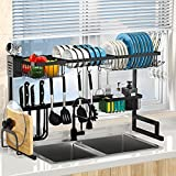 Dish Drying Rack Over The Sink Adjustable 33.4'- 41.3' Large Dish Rack Drainer for Kitchen...