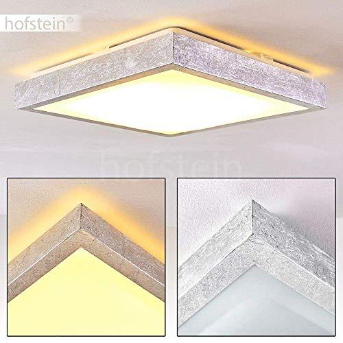 Plafoniera LED Sora quadrata di colore Argento spazzolato - Lampada da soffitto moderno - Lustro per bagno - salotto - camera da letto - 3000 Kelvin luce bianca calda - 1380 Lumen - 18 Watt