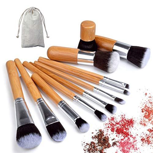 Nosii 11 Pcs Bambou Poignée Maquillage Pinceaux Cosmétiques Fondation Brush Tools Kit pour Fard À Paupières Poudre Ombre À Paupières Eyeliner