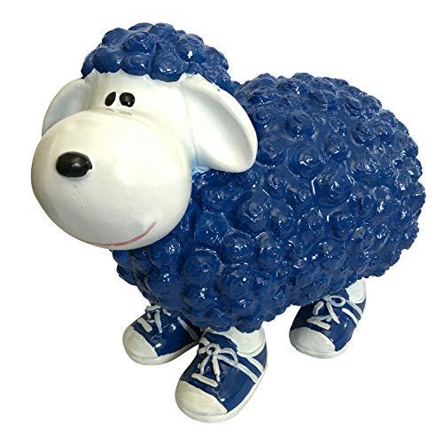 OF Gartenfiguren für außen - Blau weißes Schaf mit Turnschuhen für Garten, Balkon oder Terrasse - Dekofigur