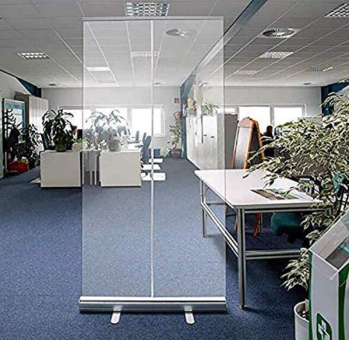 XYLUCKY Klares Rollbanner, PVC-Trennsieb gegen Niesen, Isolationsbarriere, Kunststoffstahlhalter für öffentliche Büroräume, Separates Personal (100 x 200 cm)