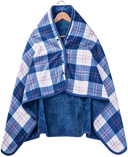 ひざ掛け 大判 腰巻き ブランケット 毛布 防寒対策 肩掛け ボタン付きフランネル 多機能 着る毛布 チェック柄 通年使用 洗える80×135cm