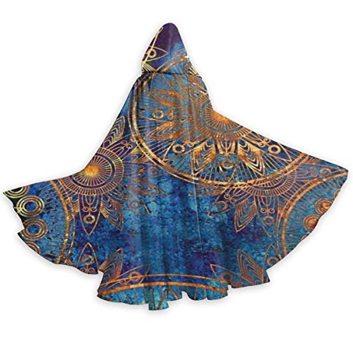 Adult Cape Cloak Tribal Blue Gold Circles Floral Ornament Unisex Hooded Cloak Coat Witch Robe Cape Long Halloween Cosplay Party Cloak