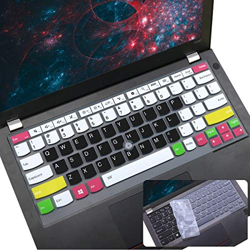 2Pcs i-Tensodo Keyboard Cover for Lenovo ThinkPad X230S X240 X240S X250 X260 X270 X280, Thinkpad X13 L13, Thinkpad 370 X380 X390 X395 Yoga 13.3' Lenovo Thinkpad Laptop Keyboard Cover, CandyBlack+Clear
