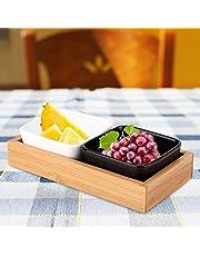 Qinlorgo Soporte para refrigerios, Bandeja de Frutas de Estabilidad Duradera Multifuncional de Primera Calidad, más Resistente para entornos(Two grids, 1 White and 1 Black)