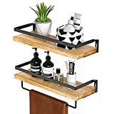 Amada Rustic Floating Shelves Wall Mounted, Solid Paulownia Wood Set of 2 for Kitchen, Bat...
