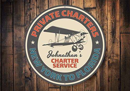 Private Charters Sign, Airplane Charters, Airplane Ride, Airport Decor, Aviation Lovers, Antique Planes, Metal Plane Decor- Metal Round Sign, Aluminum Tin Plaque Wall Art Poster 12