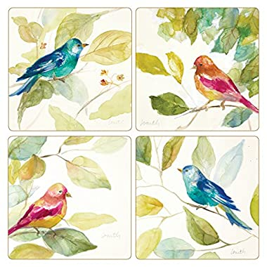 CoasterStone  Bird In A Tree  Absorbent Coaster (Set of 4), 4-1/4 , Multicolor