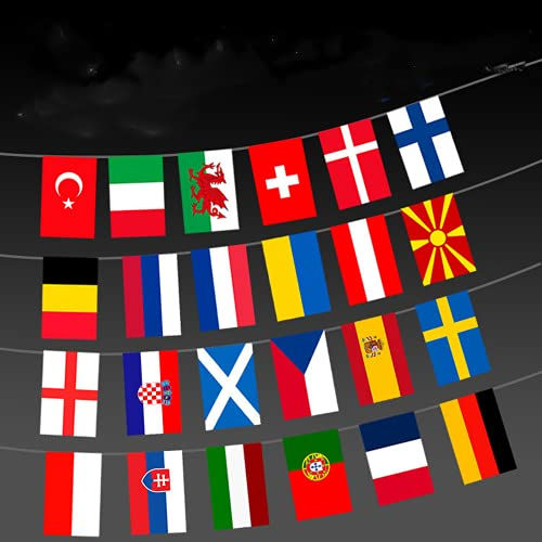 2021 Euro Football Championship Bunting, 24 Countries European Football Championship Bunting Flag, 24 Participating Teams Flags Bunting for Garden, Bar, Restaurant, Party Decoration, 14CM * 21CM