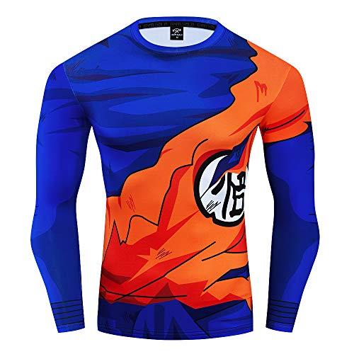 GYM GALA Dragon Ball Men's 3D Printed Compression Sport Fitness T-Shirt (S, Goku)