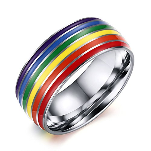 Nanafast 8mm Stainless Steel Enamel Rainbow LGBT Pride Ring for Lesbian & Gay Wedding Engagement Band Silver Size 7