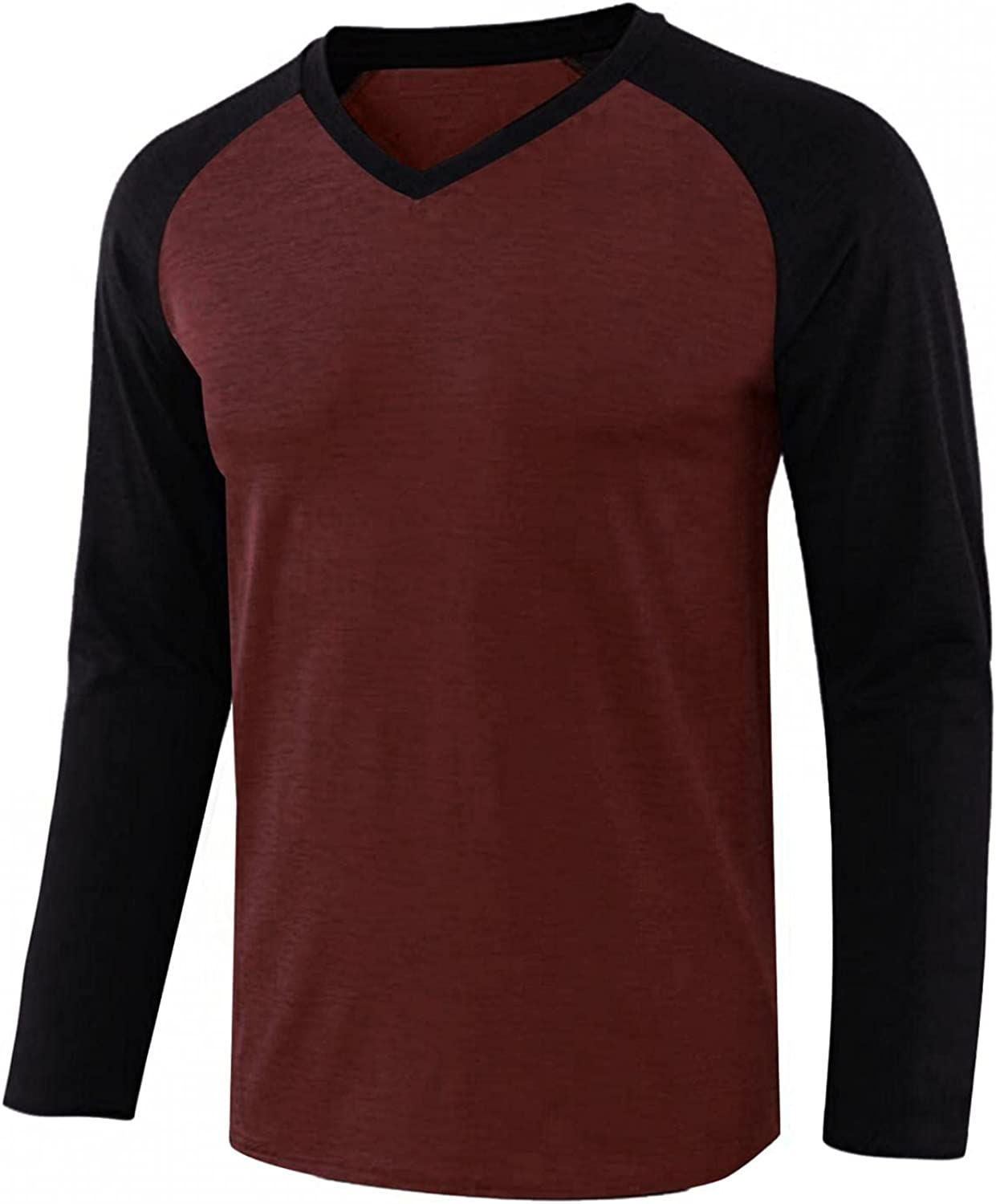 WoCoo Mens Pullover T-Shirt Long Sleeve Patchwork V-Neck Tops Lightweight Breathable Top Casual Slim Fit Blouse