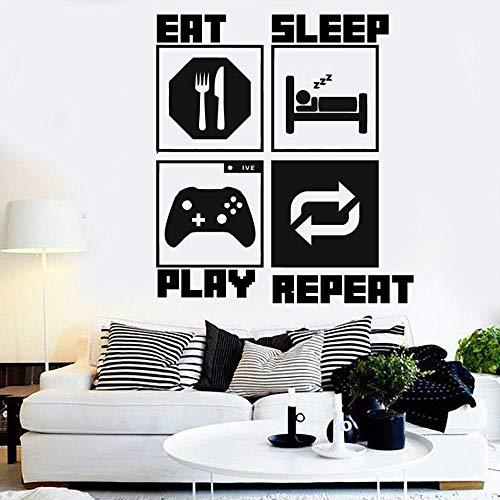 jiuyaomai Videospiel Controller Wandtattoo Essen Schlaf Gamer Aufkleber Familiendekoration Kinderzimmer Vinyl Wandkunst Aufkleber E64x57cm
