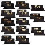 AIEX 24 Pezzi Adesivi Calendario con Schede Mensili, Schede Mensili Schede Indice Adesive per Agende, Diario, Taccuino (Nero)