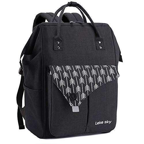Lekesky Laptop Backpack 15.6 Inch Computer Rucksack for Men Women, Black