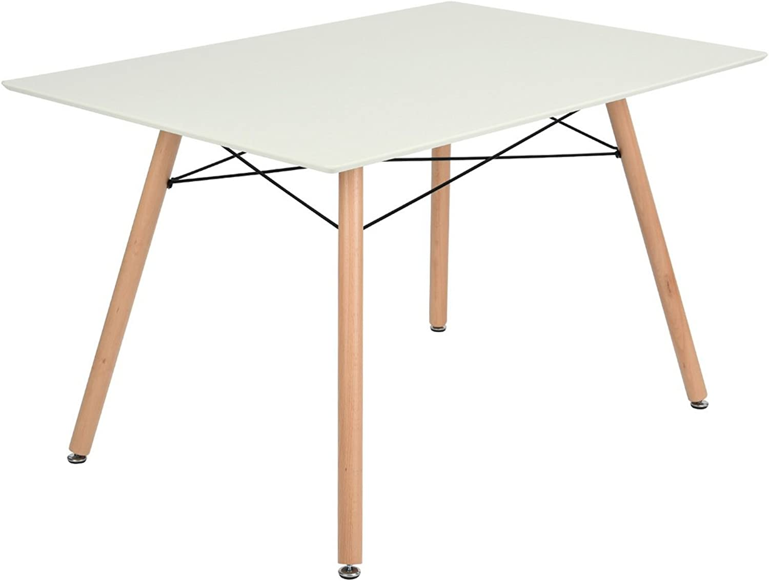 House in Box Modern Kitchen Dining Table Rectangular MDF Table Top with Solid Wood Legs