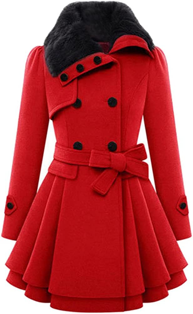 Fall Trends 2019 Women Coats, F_Gotal Women's Fashion Faux Fur Lapel Double-Breasted Thick Wool Trench Coat Jacket Red