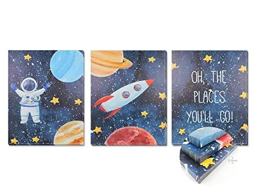 Pack 3 Tríptico cuadros con marco decorativos de lienzo impreso infantiles para decoración pared habitación dormitorio niños con bastidor de madera - 3 cuadros tamaño 40x50cm (Astronauta)