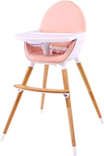 Solid Wood Portable Baby High Chair Baby Dining Chair Kids Eating Dining Chairs (Color : Pink)