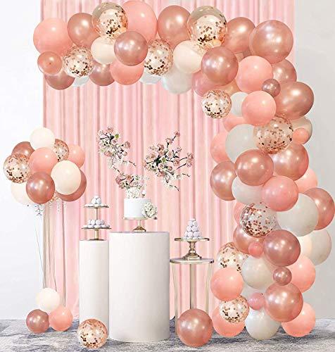 Rorchio Arche Ballon Rose Gold et Rose, Arche Ballon Anniversaire Fille, Kit Guirlande Ballon Or Rose Blanc, Décoration pour mariage fête anniversaire soirée baptême