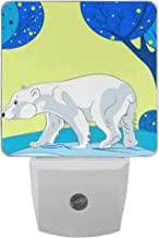 2 Pack Plug-in LED Night Light Lamp Polar Bear On Winter Printing with Dusk to Dawn Sensor for Bedroom, Bathroom, Hallway, Stairways, 0.5W
