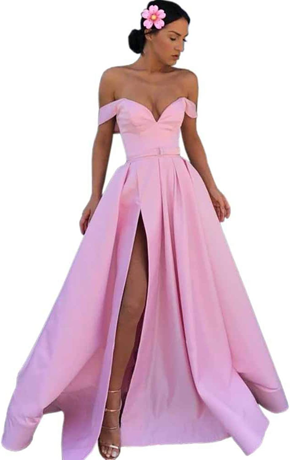Dressylady Off The Shouldelr A Line Satin Long Prom Evening Dress with Slit