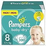 Pampers Couches Baby-Dry Taille 8 (+17kg) Jusqu'à 12h Bien Au Sec et Avec Barrière Anti-Fuites, 100 Couches (Pack 1 Mois)