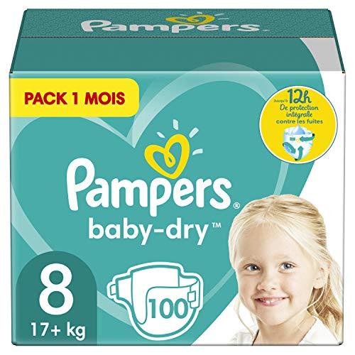 Pampers Couches Baby-Dry Taille 8 (+17kg) Jusquà 12h Bien Au Sec et Avec Barrière Anti-Fuites, 100 Couches (Pack 1 Mois)