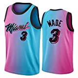 Dwyane Wade Jersey para los Hombres, Miami Heat 3# Basketball Jersey 2021 New City Edition Juvenil Swing Swing Camiseta Camiseta sin Mangas (S-XXL) L