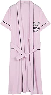 Women's Nightgown, Summer Thin Short-Sleeved Morning Gown, Cotton lace-up V-Neck Gown, Casual Home wear, Soft and Comfortable, high-Quality Fabric (Color : Pink 1, Size : L)