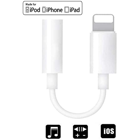 2 in 1 Charger 2Pack Lightning to 3.5mm Headphones Jack Adapter for iPhone, Apple MFi Certified Aux Audio Splitter Dongle Adapter for iPhone 7//7Plus//8//8Plus//11//X//XR//XS Support All iOS System